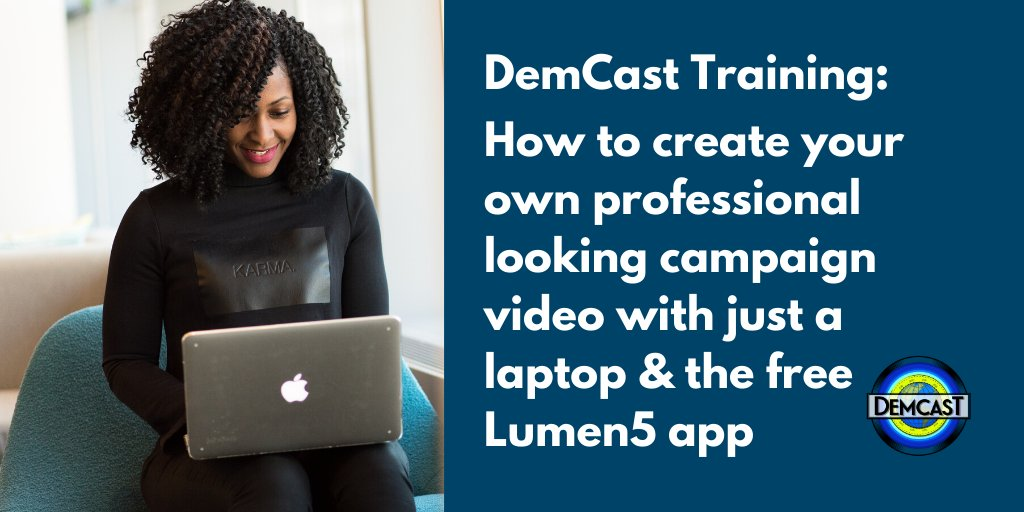 """#DemCast is thrilled to offer the 1st in a series of training sessions for our partners & volunteers.  Thurs 1/23 @ 5:00 PM Eastern  """"How to create your own professional looking campaign video with just a laptop & the free Lumen5 app""""  Register in advance:  https:// zoom.us/webinar/regist er/WN_dAbr_9zLQ6q7_lSSaDuNpw  … <br>http://pic.twitter.com/zsEcymdz4s"""