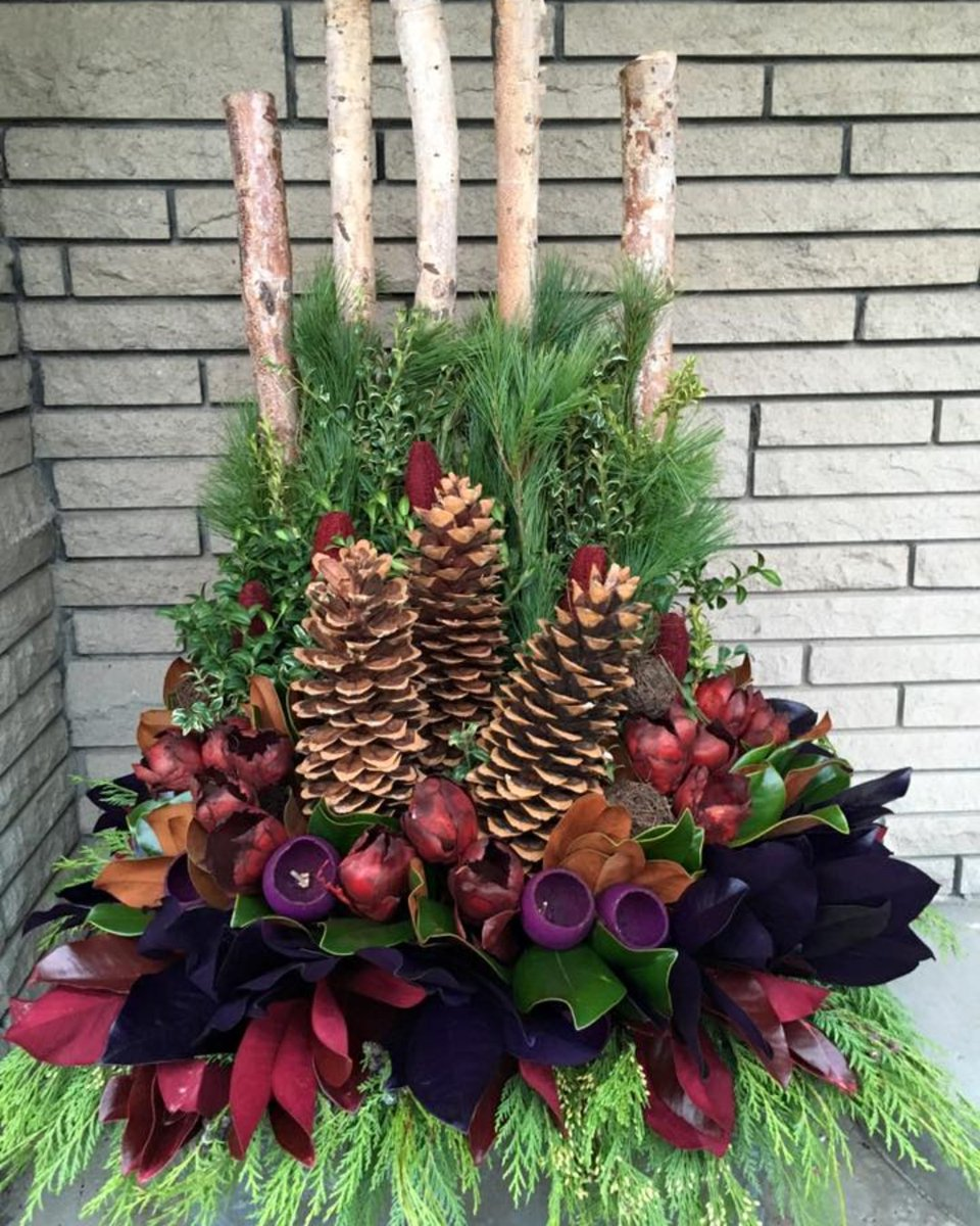 Aden Earthworks Inc On Twitter This Gorgeous Seasonal Planter Is Made Out Of Birch Branches Pine Cones Evergreen Needles And An Arrangement Of Winter Flowers Contact Us To Order Your Custom Seasonal
