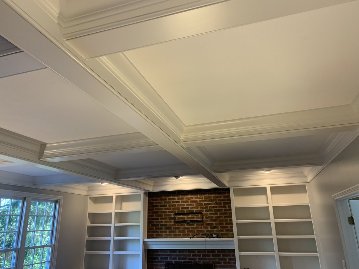 One of the best parts of the job, is that every project is different! Like the woodwork on this ceiling is a really cool change from a flat ceiling.   #interior #paint #ourtown #cabinets