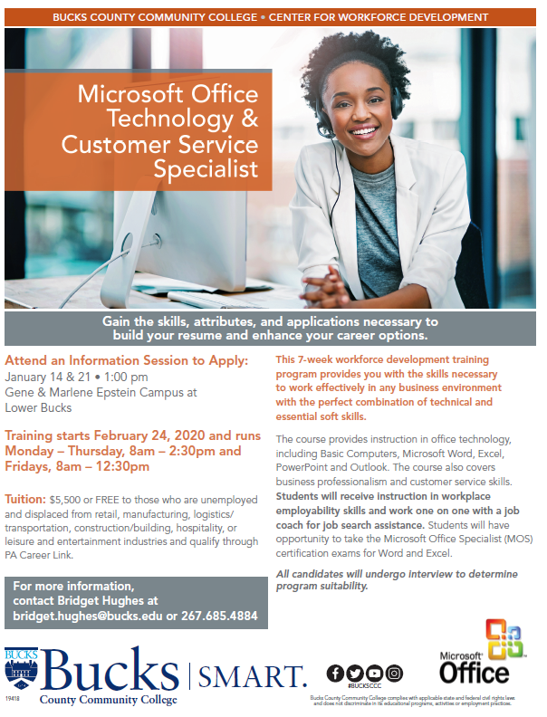 Reminder!! Starting soon Microsoft Office Technology & Customer Service Specialist training course. The Information Session will be held Today 1/21/20 at 1:00 PM at BCCC in Bristol. FREE to those who qualify! Please distribute!#BuckCounty #Training