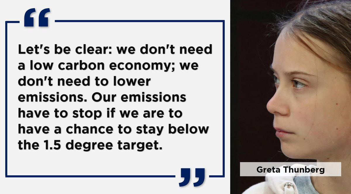 """Let's be clear: we don't need a low carbon economy; we don't need to lower emissions. Our emissions have to stop if we are to have a chance to stay below the 1.5 degree target."" -#GretaThunberg Credits: Khalid Kareem #Davos2020 #WEF20 #WEF2020 #ClimateChange #Davos20 #economy"