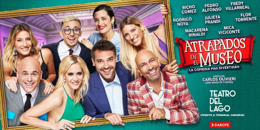 Hoy #AtrapadosEnElMuseo en el @teatro_dellago #CarlosPaz #Córdoba Dos funciones: 22:00 y 23:59