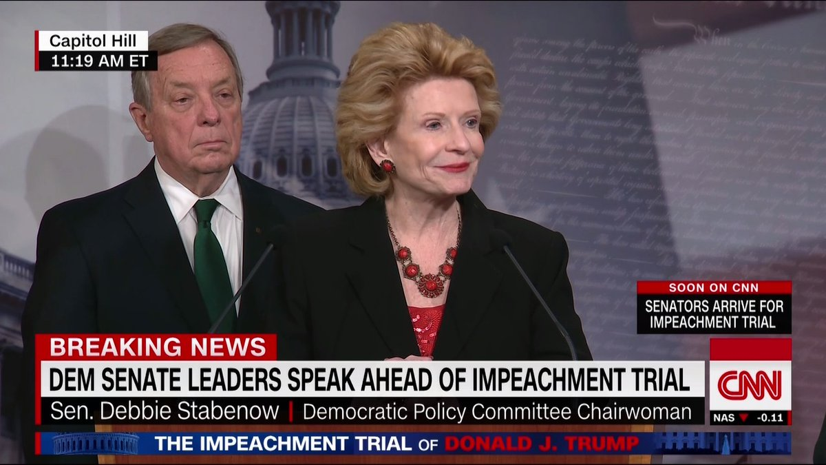 """Sen. Debbie Stabenow slams the White House defense: """"Seems to me they are using the Mick Mulvaney defense — Yes, the President did the call. Yes, he withheld the money. The President can do whatever he wants. 'Get over it'"""" https://cnn.it/2umG1UY"""