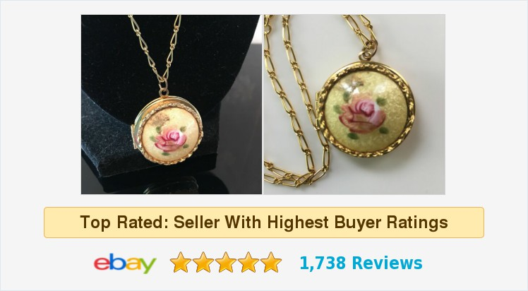 Guilloche ##Enamel Pink Rose Round Photo Locket w/ Chain Gold Tone | eBay #locket #guilloche #photolocket