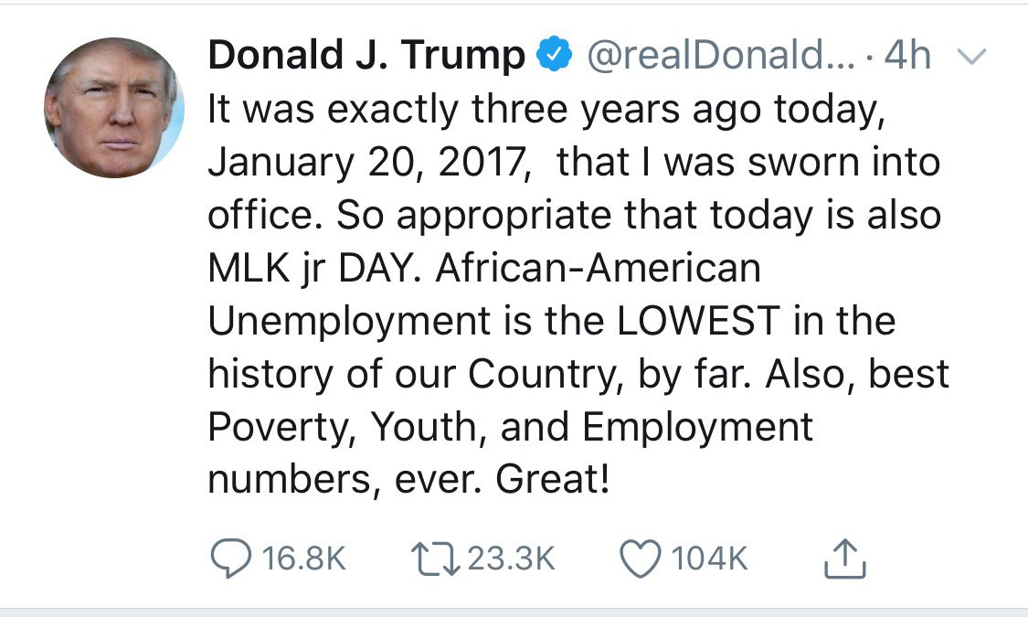 Mr President, this is not true & the prophetic tradition of MLK contradicts your lie. Median income for Black households is $2k lower in your admin than in Obama's, when Black unemployment fell 9 points. You sound like the slave master who boasted that his slaves were happy.