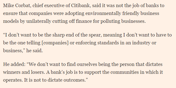 """Here's the bit where @Citi CEO Mike Corbat forgets that financing companies that exacerbate climate change doesn't exactly """"support communities"""", and that banks already """"dictate outcomes"""" with every credit decision they make. From @FT @gilliantett #Davos20"""