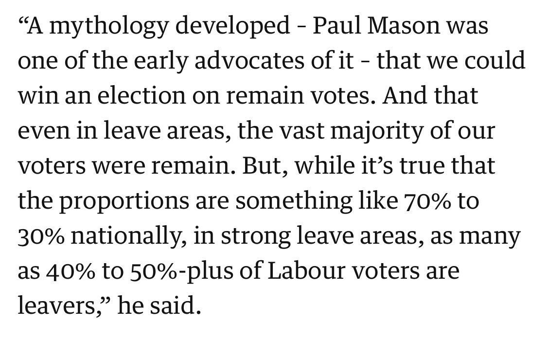 At least Steve Howell has the decency to speak on the record here but hes mistaken. With HNH/TSSA I argued we could *not* win election with Remain votes only... and to avoid an election framed around Brexit: the Second Ref was also aimed at Leave voters - nobody listened. 👇🏽