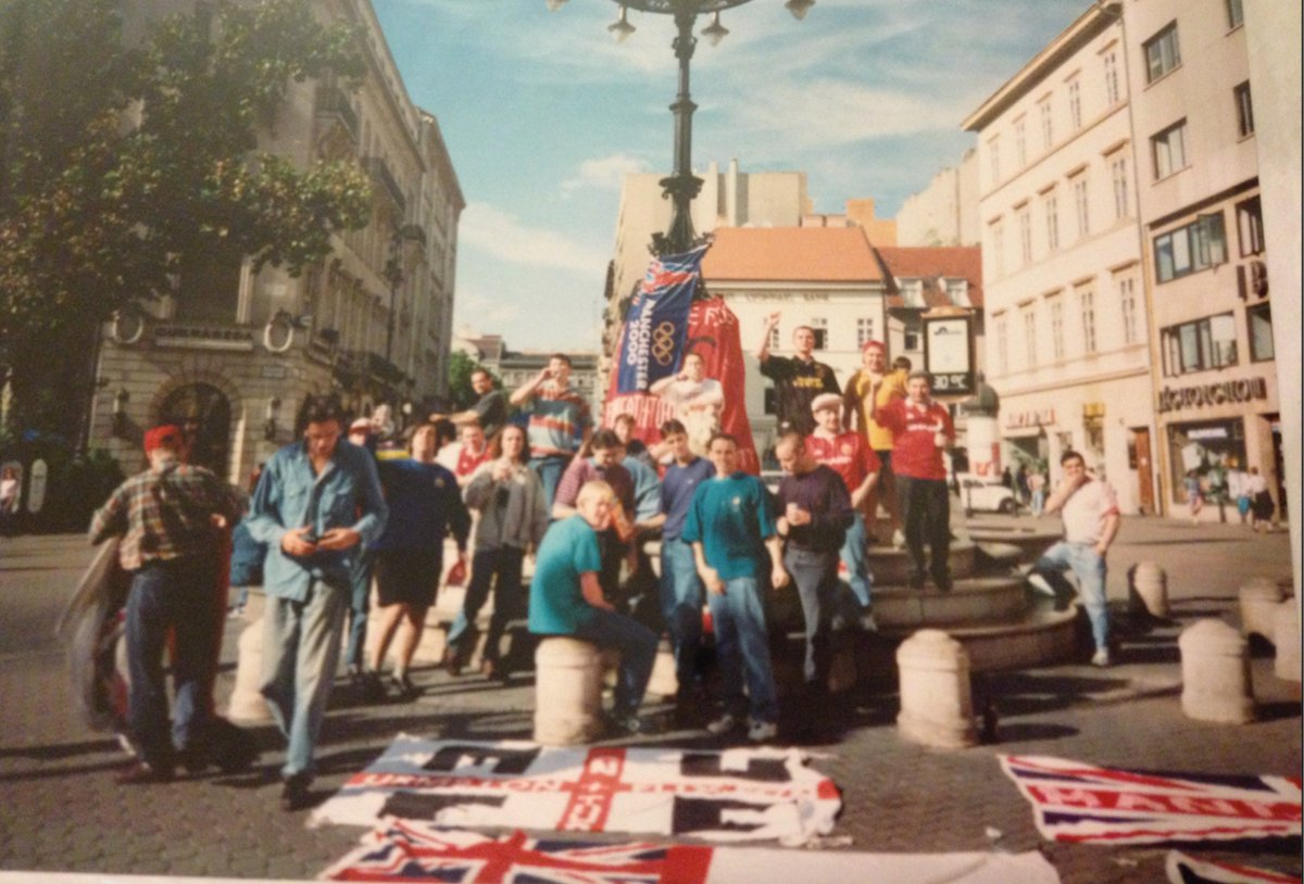 United We Stand On Twitter Budapest 1993 Before Honved Note The Manchester 2000 Flag For The Failed Olympic Bid That Trip Also Saw The 17 Years Flag For The First Time Https T Co Ejelzfpudl