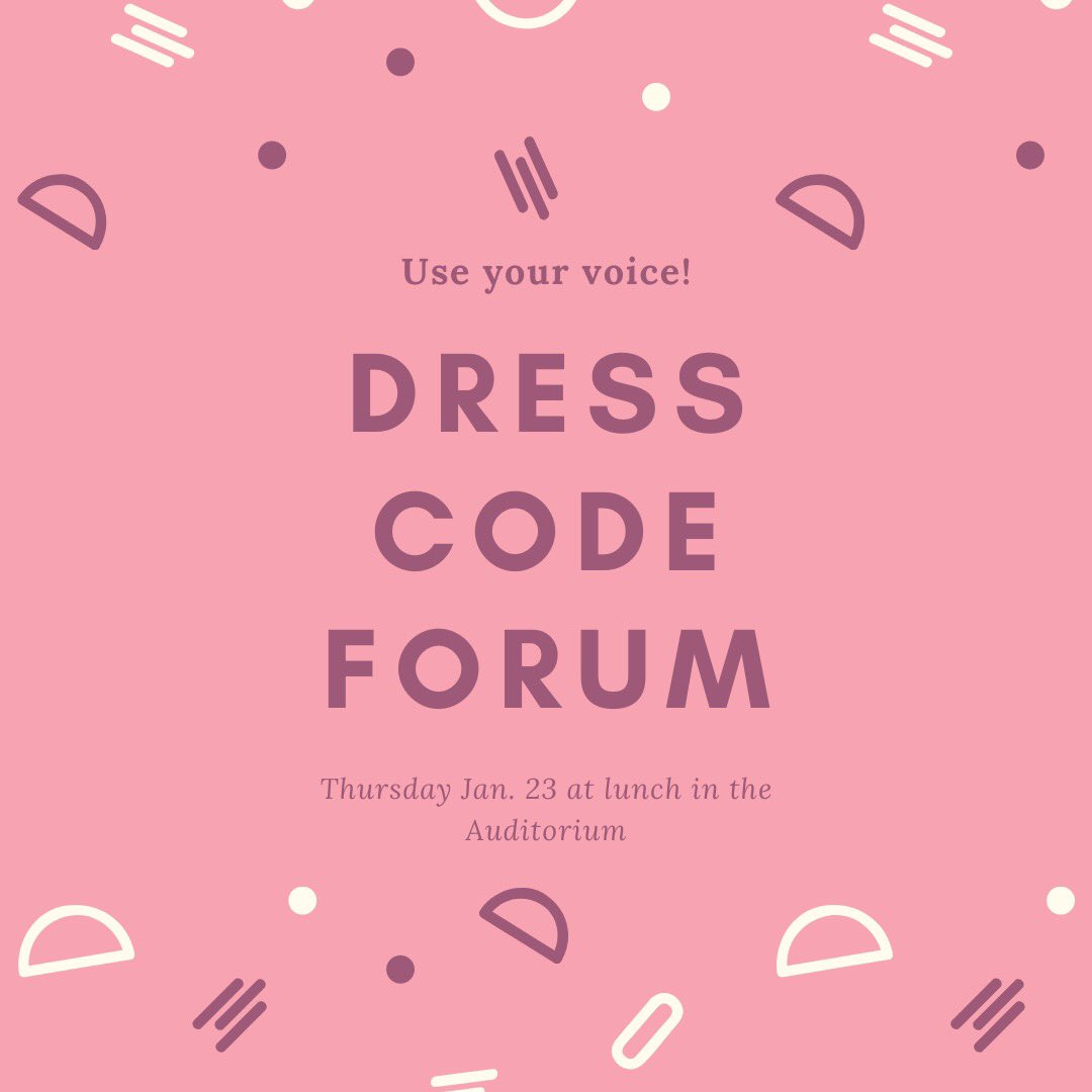 We will be holding a Dress Code Forum at lunch this Thursday in the Auditorium! This is a chance for you to voice your concerns about the current dress code! https://t.co/5DTOanACOP