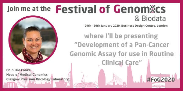 """Every tumour is different and that's down to how the cancer's genome has evolved."" Next week @UofGlasgow's Dr Susie Cooke will be speaking about the ground-breaking Glasgow Cancer Tests at the Festival of Genomics 2020🔬#fog2020 #fogRead more👉http://ow.ly/OwId50y1auq"