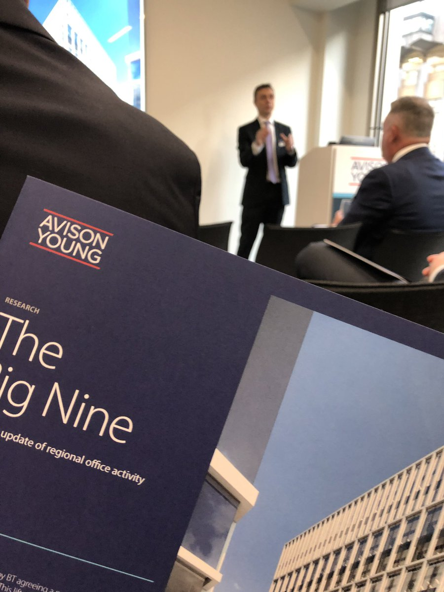 Excellent overview of the UK regional office market - looking at @AvisonYoung 2020 global forecast; regional occupational & investment trends. Real buzz of positivity in the room #offices #investment #BigNine #2020