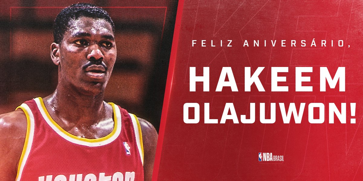 Feliz Aniversário, @DR34M! 🎉  O ÍDOLO do @HoustonRockets completa 57 anos nesta terça, com um currículo GIGANTE: 2x Campeão da NBA, 2x MVP das Finais, MVP da temporada 1993-94 e 2x Defensor do Ano. #NBABDAY #OneMission