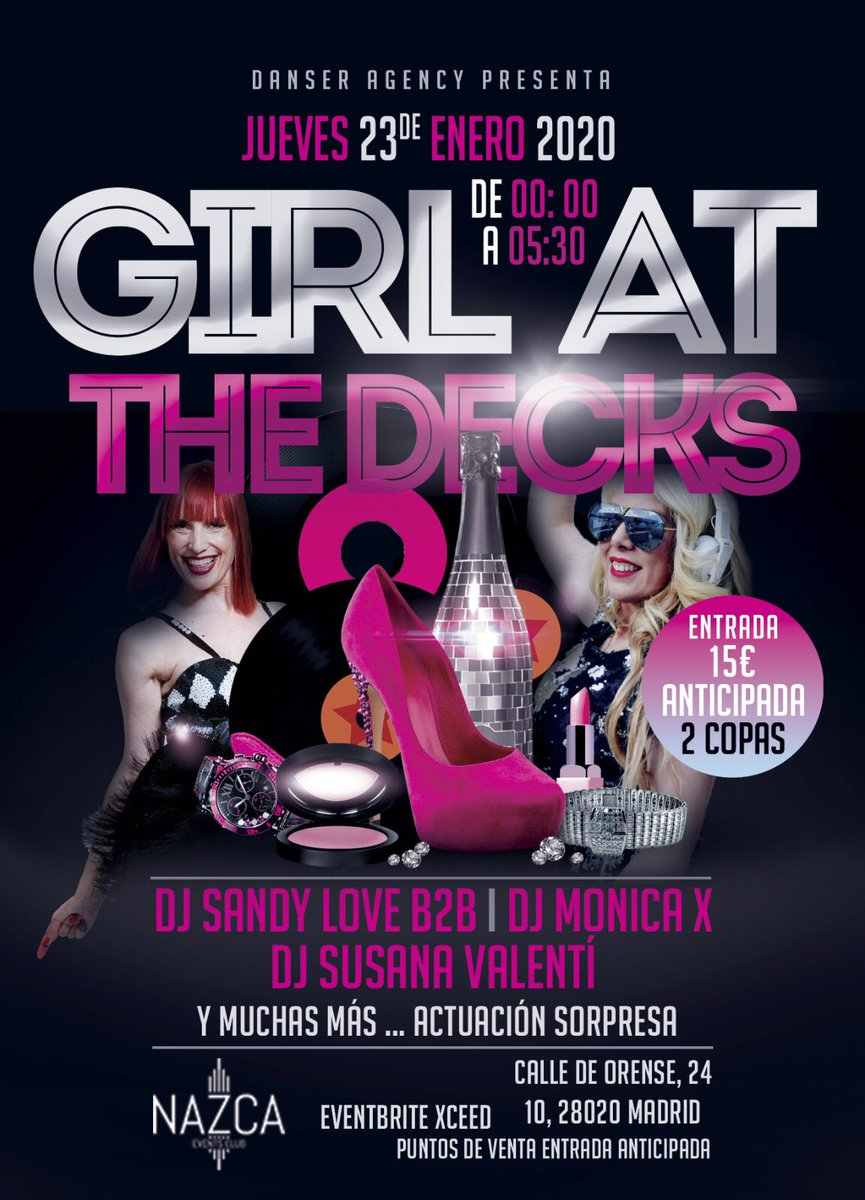 Jueves 23 Enero 2020: Girls at the Decks @ Nazca (Madrid).   🎧 Sandy Love #SandyLove ❤️ 🎧 Monica X #MonicaX ❌  🎧 Susana Valentí #SusanaValenti ❤️  @DJSANDYLOVE  @djmonicax