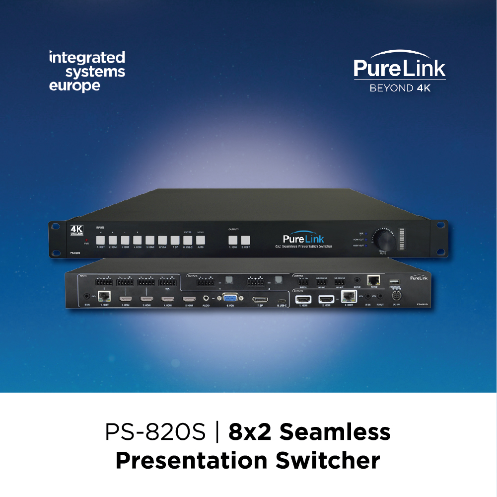 Don't miss our live demo of the new PS-820S 8×2 Seamless Presentation Switcher with 18 Gbps support and full 4K@60Hz, 4:4:4 instant switching and video scaling exclusively at ISE 2020!   #PureLink #Beyond4K #ISE2020 #avsolutions #avtech #audiovisual #audio #visual #avservices #avpic.twitter.com/IvJHteCGbw
