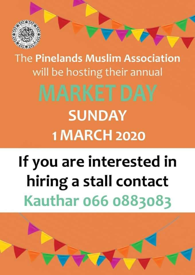 Limited stalls available ... Contact Kauthar today to secure your stall #pinelands #muslim #family #marketday #march