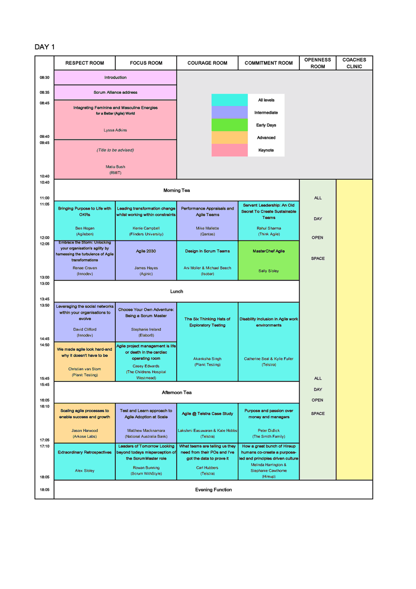The Scrum Australia 2020 Programme is here! Get it before it goes up on the web. Please note it is subject to change. To register for Scrum Australia 2020: trybooking.com/book/event?eid…