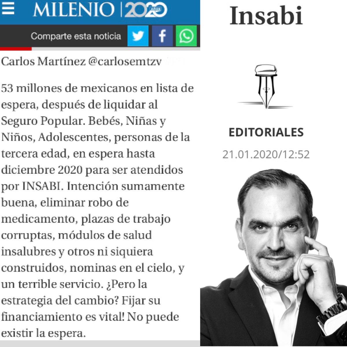 """Te invito a leer el espacio de #DebateGeneracional, como todos los Martes en @MilenioJalisco , el día de hoy! Tema: """"INSABI""""... ¿Cuál es tu opinión? #Milenio #Martes #Jalisco #Mexico #Columna #Salud #Hospitales #Gobierno #Medicina @Milenio"""