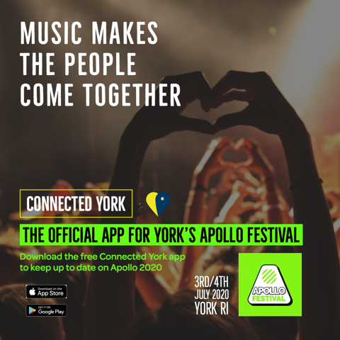 We're really pleased to announce we're the official app for this year's @ApolloFestival York. Put Fri 3rd and Sat 4th July in your diary and download the Connected York app for FREE to make sure you keep in the loop. #LiveMusic #YorkMusic #MusicFest #ApolloFestival #GetTicketsNowpic.twitter.com/7vb4W7ESRv