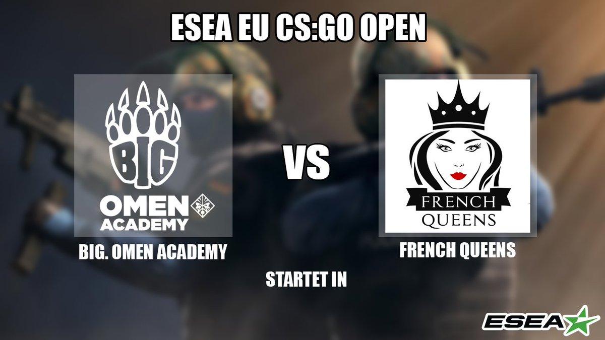 Ein neuer Tag, eine neue Übertragung! Für die Jungs der @BIGCLANgg @OMENbyHP_de Academy geht es heute an Spieltag 3 gegen die #FrenchQueens 😃  Auf gehts Jungs 💪🏼 @KrimboCS @Anhuin @panixcs @prosus_cs @HadeZCS   (Spielstart: 21 Uhr)  #ESEA #eSports #Stream