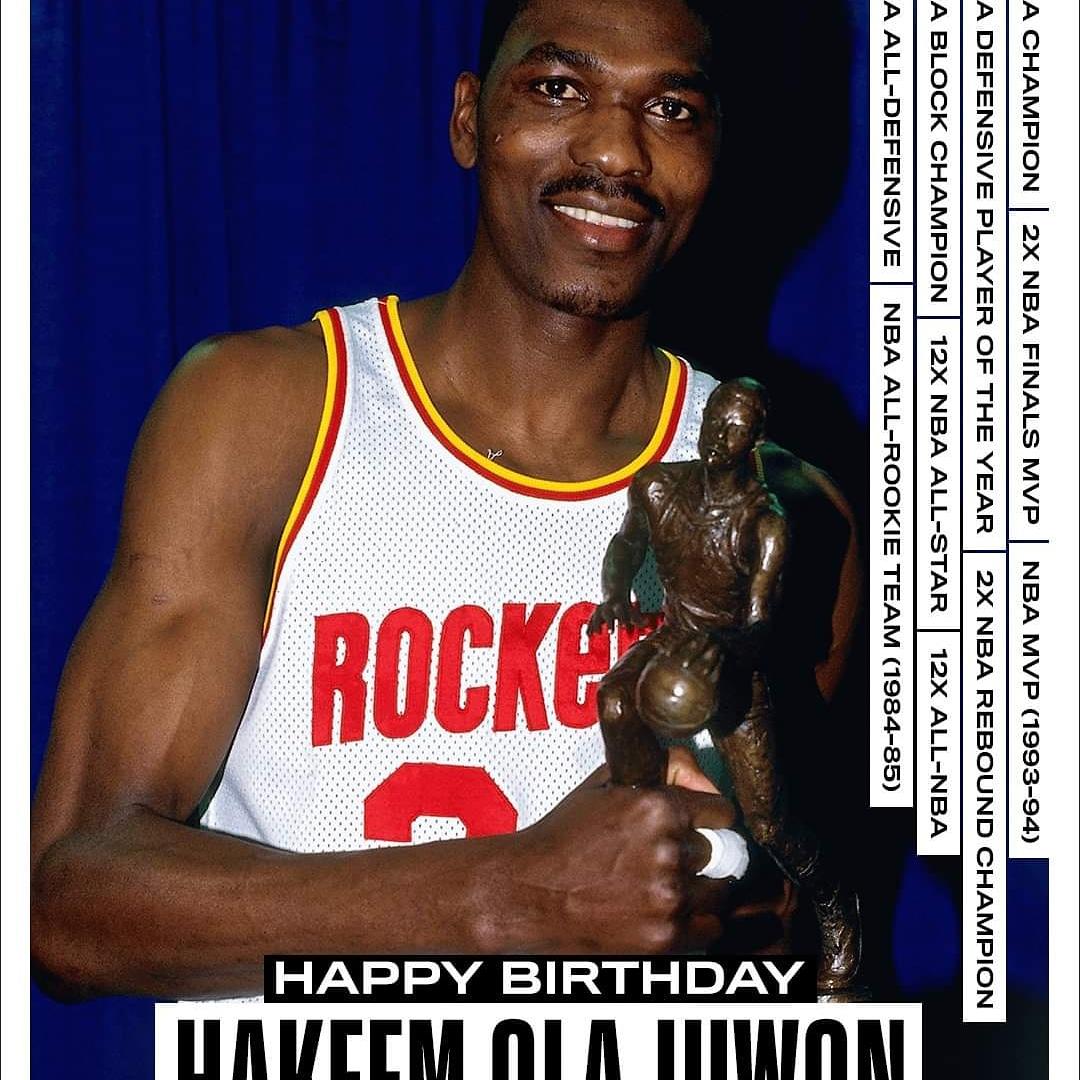 Join us in wishing a Happy 57th Birthday to 12x #NBAAllStar, 12x All-NBA & 2x NBA Champion, Hakeem Olajuwon #NBABDAY  #jamesre