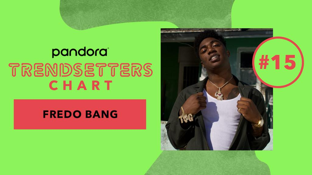 """Louisiana rapper @FredoBang is featured on this weeks Pandora Trendsetters Chart! The chart reflects which rising artists are currently trending. Hear his track """"Oouuh"""" on our playlist: pdora.co/2NiPkgR"""