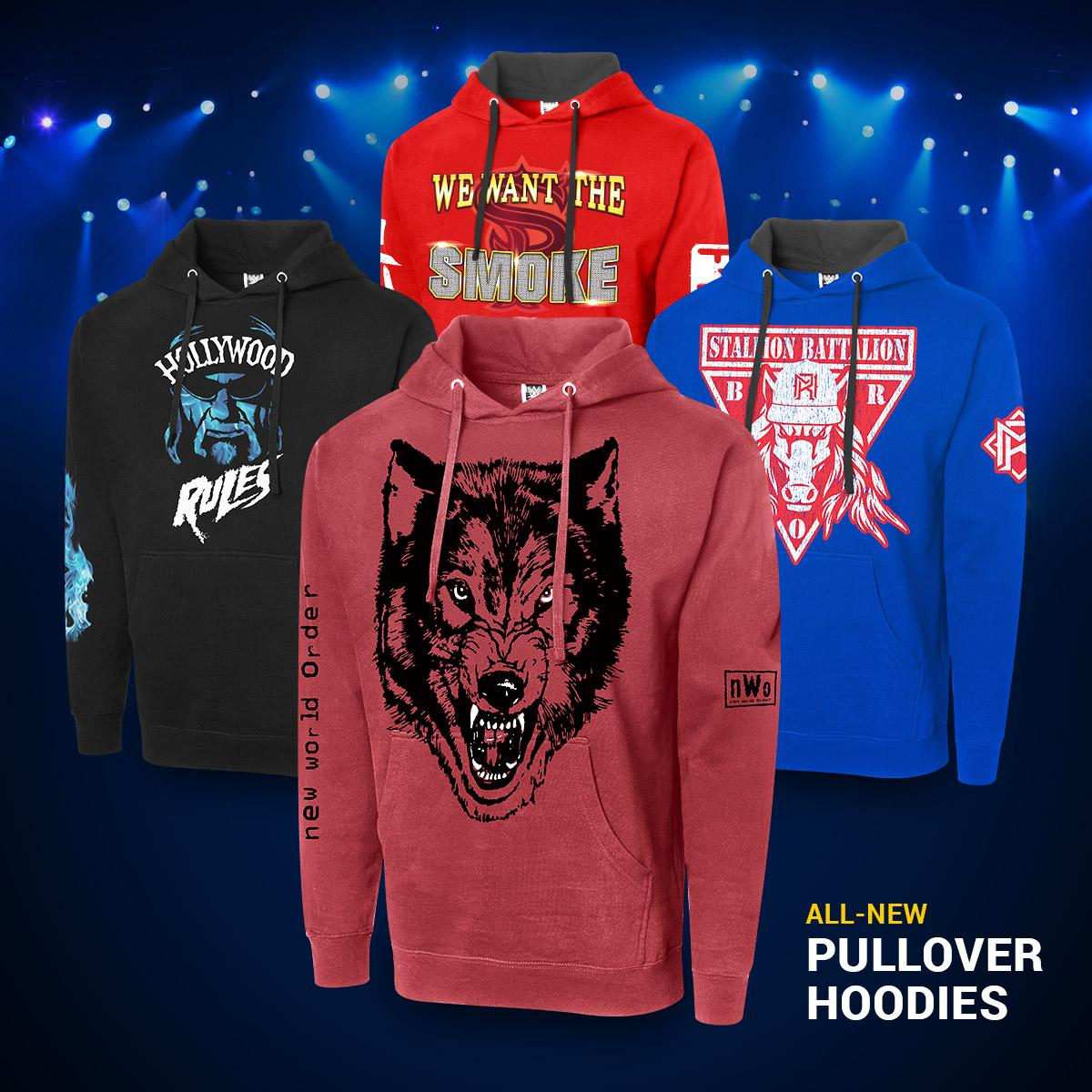 🔥 Hoodies available now at #WWEShop! Featuring your favorite #WWE Superstars & Legends.