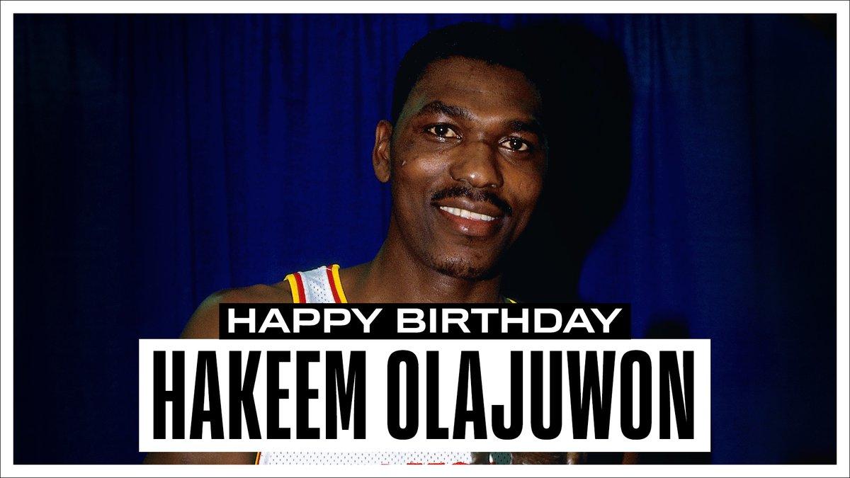 "Join us in wishing a Happy 57th Birthday to 12x #NBAAllStar, 12x All-NBA, 2x NBA Champion, 1993-94 NBA MVP & @Hoophall inductee... ""The Dream"", Hakeem Olajuwon. #NBABDAY"