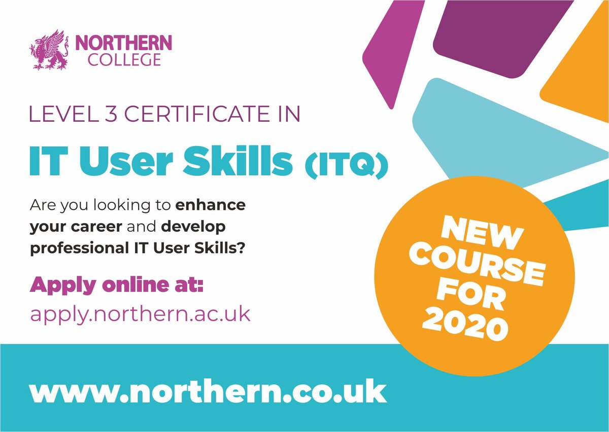 NEW COURSE for 2020!  Level 3 Certificate in IT User Skills (ITQ)   Develop your skills, knowledge and understanding of some key Microsoft Office applications and enhance your career in 2020!  Learn more https://www.northern.ac.uk/courses/level-3-itq-certificate-in-it-user-skills/ …  #NewyearNewyou #changeyourlife pic.twitter.com/0kuh4buCaB