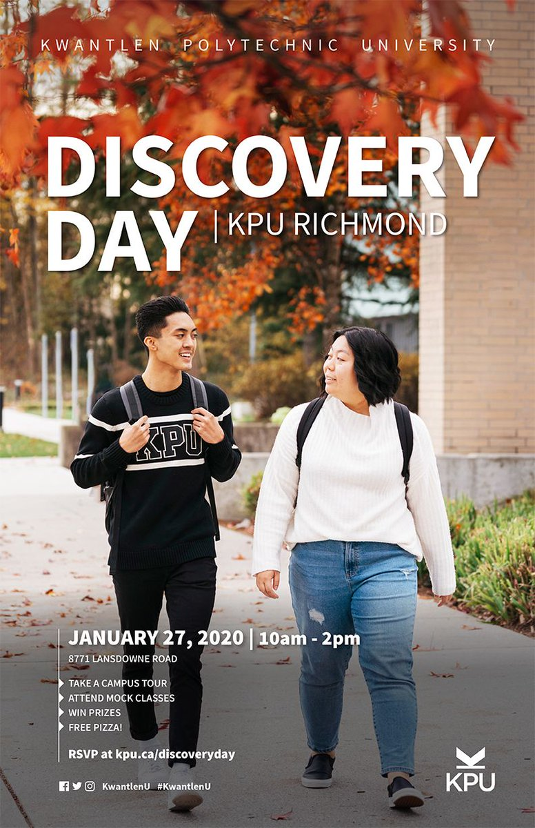 Hey high school seniors! Discover what it's like to be a @kwantlenu student at Discovery Day on January 27. We're hosting fun workshops like textile solar dyeing and an interior design activity. P.S. We have prizes, swag, and free pizza!  Register now at http://bit.ly/2vb4DAG pic.twitter.com/lL6Ikzmfy7