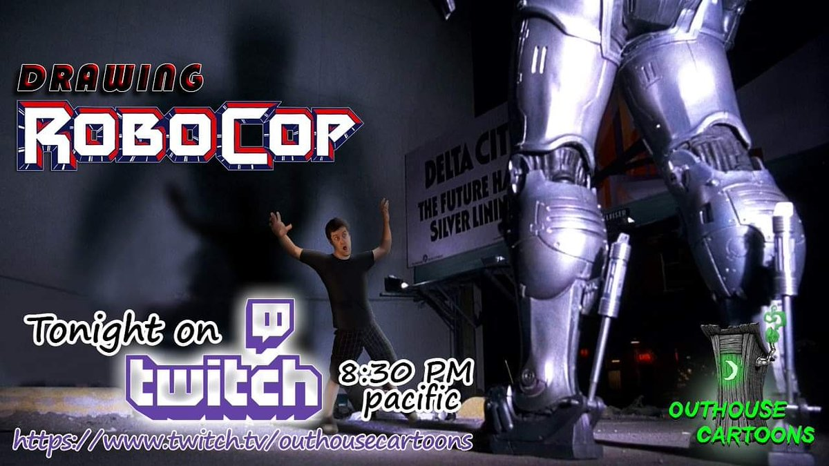 Gonna be drawing Robocop on #twitch tonight! Follow and watch at 8:30PST at  #Robocop #drawing #art #stream