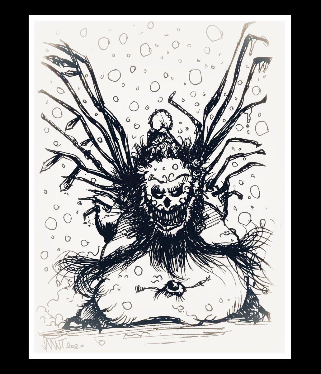 Snowman of Long Cold Winter Nights Sketch  #snowman #long #cold #winter #night #snow #sketch #creature #design #horror #korku #character #characterdesign #creaturedesign #art #artist #illustration #illustrator #drawing #sketchbook #sketching #ink #inking