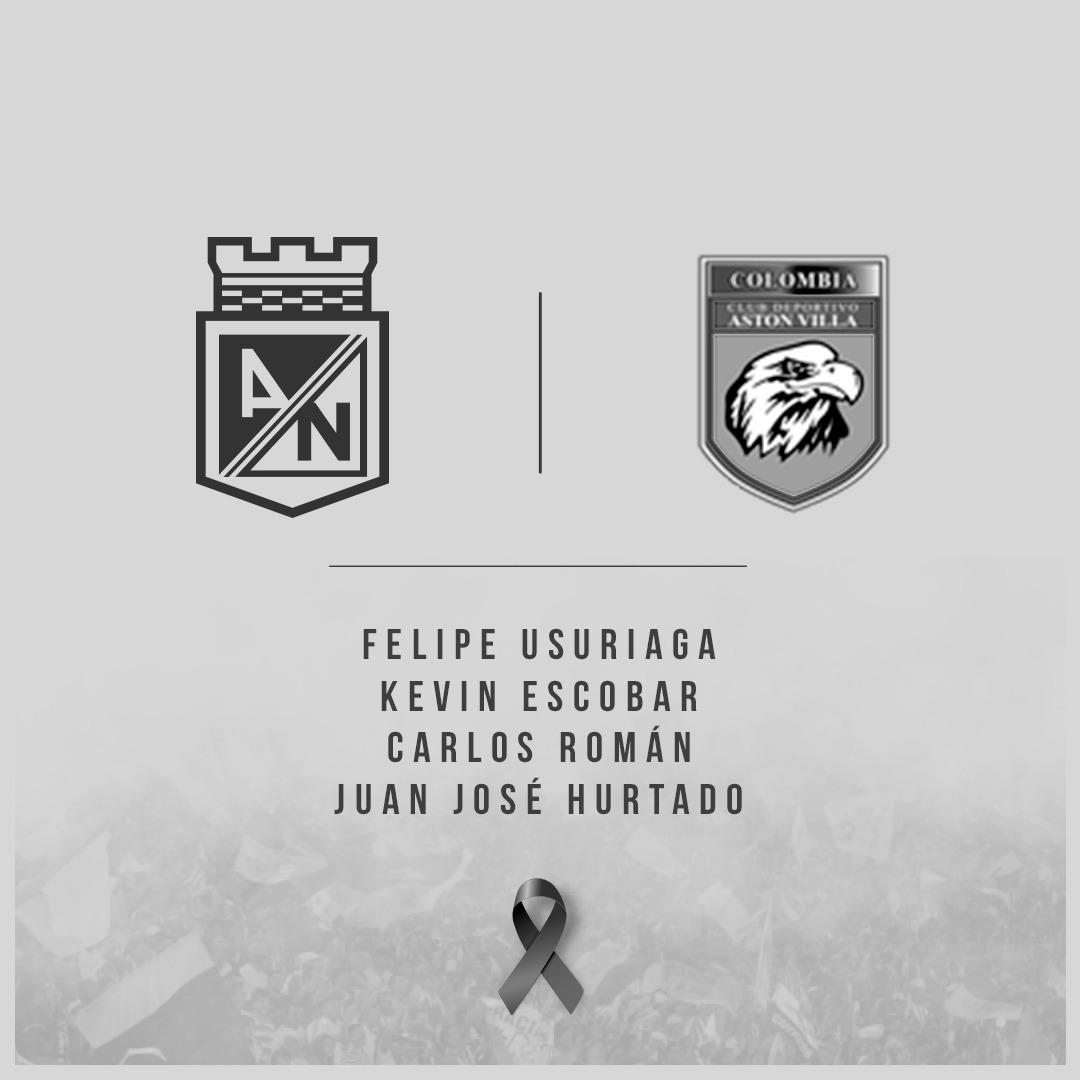 #Institucional | Atlético Nacional lamenta el fallecimiento de las cuatro promesas del fútbol que pertenecían al Club Deportivo Aston Villa del Valle del Cauca. Abrazamos a sus familias y amigos en este difícil momento.