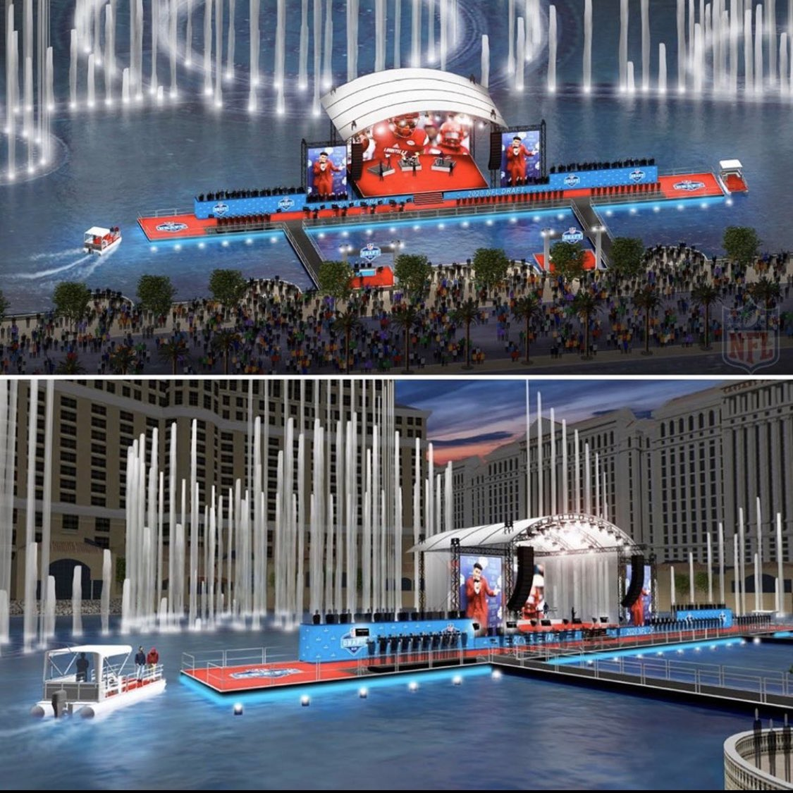 test Twitter Media - The stage for the 2020 NFL Draft in Las Vegas will be on 🌊 at the Fountains of @Bellagio Players will be taken to the main stage by 🚤   (news via @ArashMarkazi) https://t.co/3VOW14a9xM