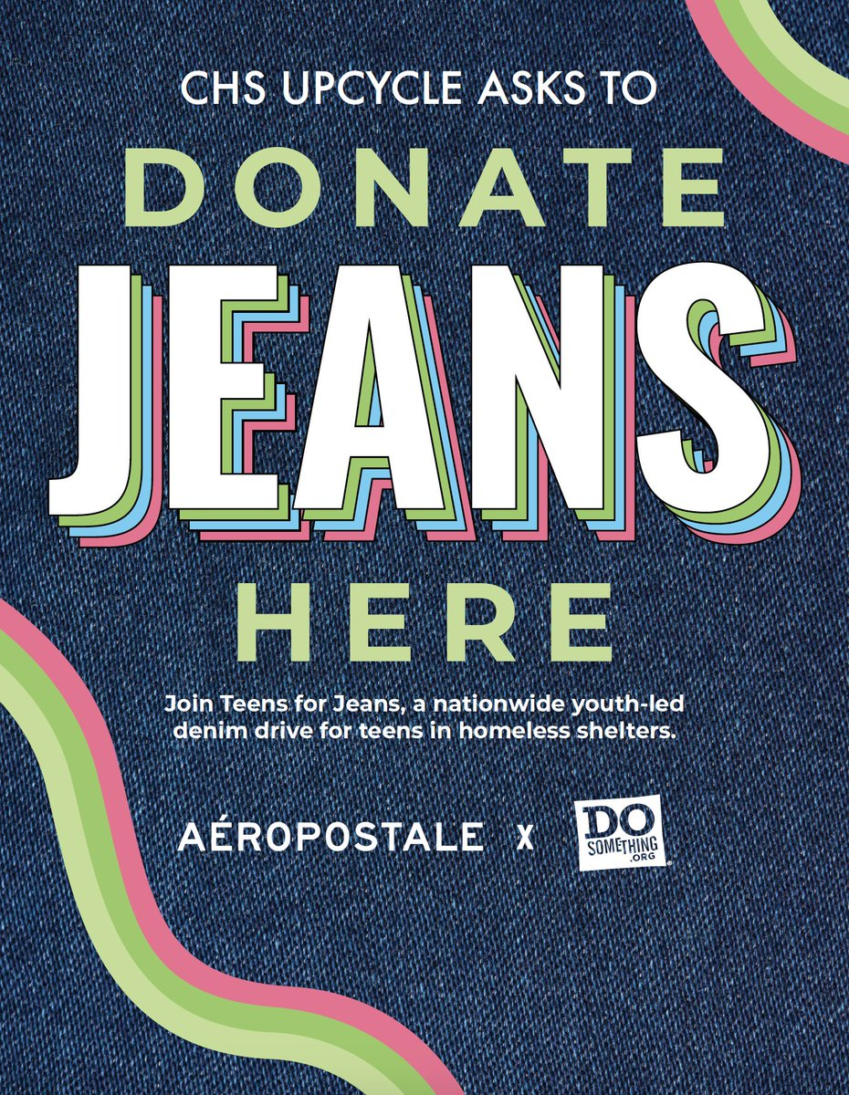 The CHS Upcycle club is hosting a Jeans Drive starting January 21st and running until Tuesday, February 4th.  Please bring new or gently worn jeans to donate to teens in homeless shelters. There will be 3 donation bins around the sc http://edl.io/n1148519pic.twitter.com/50y4ATefcZ