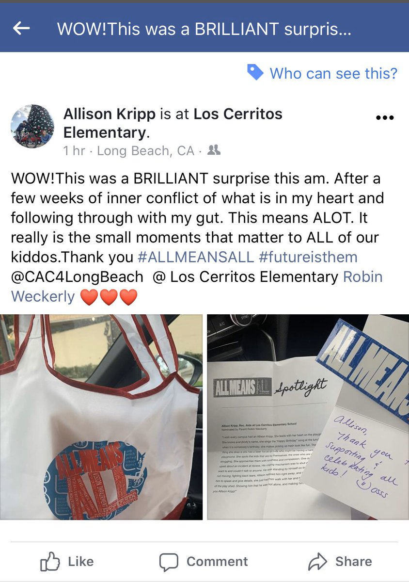 Glad to be able to recognize one of the amazing Rec Aides on our campus. Thanks @SpedCurrLBUSD for shining a spotlight on all the good work happening in our District. #allmeansALL #proudtobeLBUSD #weAreLosCerritos