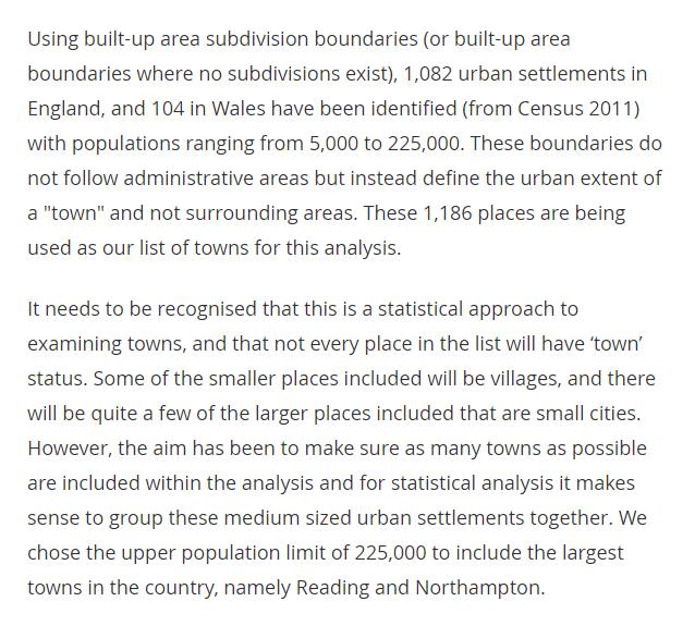 "MHCLG says the selection criteria for the #TownsFund relied on an ONS definition of ""towns"".   ONS definition   (This doesn't explain the launch in Wolverhampton. Surely Wolverhampton's Census 2011 population was higher than 225,000?)"