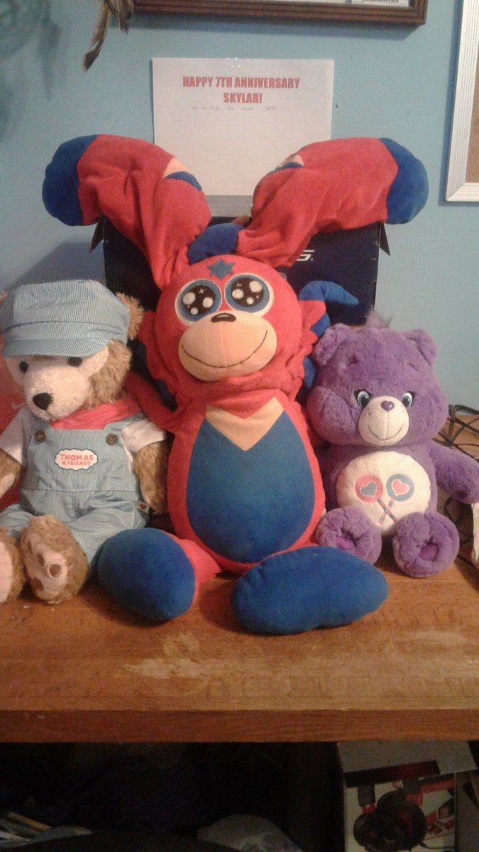 My main character, Skylar started out as a My Little Pony OC named Cowardly Conqueror in 2013. Then, he was a Moshi Monsters OC, to now. National Hug Day is his birthday  (in the series). Skylar plush by @BudsiesToys #skylarwatson #duffythedisneybear #CareBears #thomasandfriends