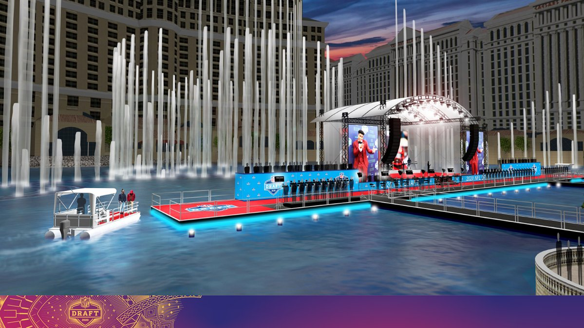 Vegas doing it big for the 2020 NFL draft   The red carpet stage will be on the water at the Bellagio fountains, and players will be brought there by boat.   The main draft stage will be constructed next to Caesars Forum.  (via @ClarkCountyNV)<br>http://pic.twitter.com/WVkwFDMM80