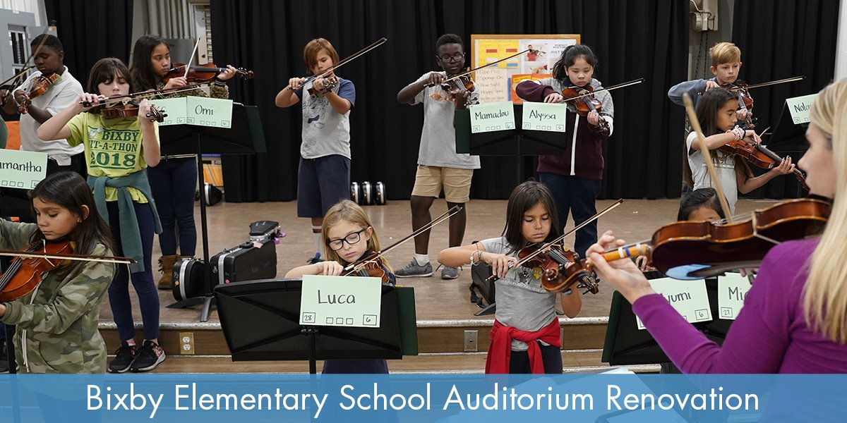 Students in violin class at renovated Bixby Elementary School auditorium. More about Bixby project:  #proudtobelbusd #BixbyLBUSD #bixbyelementary #schoolbondsproject