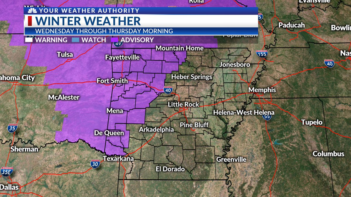 "WINTER WEATHER ADVISORY Wednesday through Thursday morning for snow, sleet and freezing rain. Up to 1"" snow/sleet and ¼"" ice accumulation possible with ½""+ ice accumulation along the #ArkansasRiver in Johnson and Pope counties. Stay #WeatherAware! #arwx<br>http://pic.twitter.com/jDbJi6C9b8"