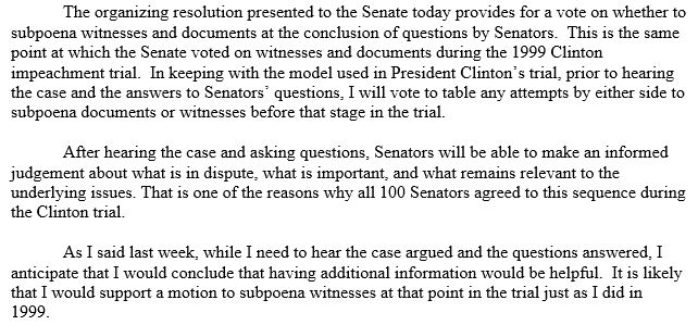 ".@SenatorCollins wouldn't have put out this statement if she and her campaign weren't concerned about the optics and the politics back home. The fact that she feels she has to justify her ""no"" votes on witnesses is telling."