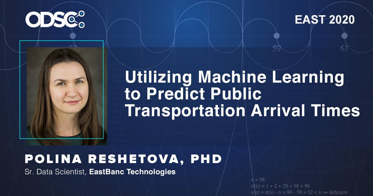 Attending @ODSC East in April? If so, don't miss Polina Reshetova's talk on using #MachineLearning to predict public transportation arrival times.    #DataScience #AI   https://hubs.ly/H0mGpfw0 pic.twitter.com/73WzzEyt4H
