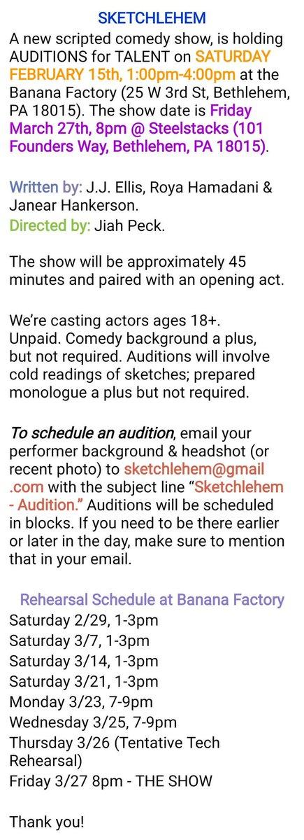 #sketchcomedy #lehighvalley #Bethlehem #auditionspic.twitter.com/EPleun5MhY