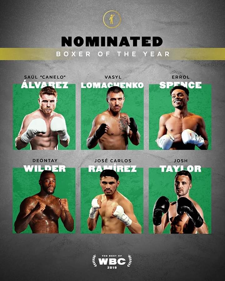 Wbc Nominees Boxers of The year Award 2019.  Who do you think Deserve the best boxer for 2019?  @wbc   #boxing #bestboxer #wilder #lomachenko #errolspence #alvarezpic.twitter.com/gsKZ0rZRzR
