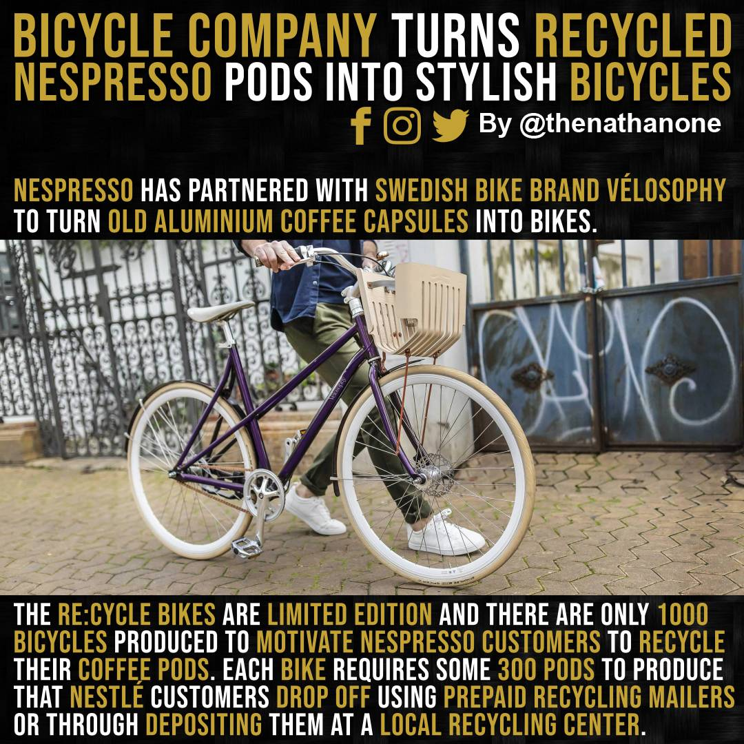 Wow!  RE:CYCLE by @velosophySthlm is made with aluminium from recycled Nespresso capsules.   #techdeck  #technologynews  #sciences #sciencecenter #scienceworld  #scienceexperiment pic.twitter.com/6SMksjyzn4