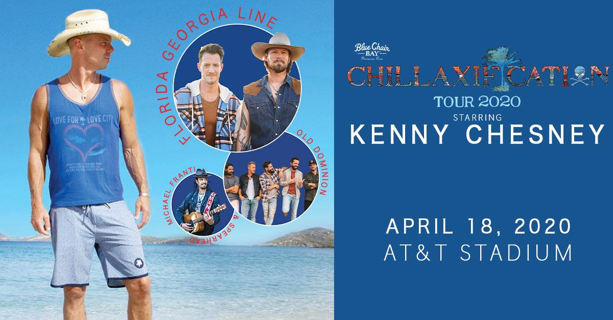 Arlington, TX! Get some Chillaxification @ATTStadium on April 18, 2020! Tickets are ON SALE NOW for @kennychesneys Chillaxification Tour 2020 with @FLAGALine, @OldDominion, & @michaelfranti, presented by @BlueChairBayRum. Get tickets NOW → bit.ly/2sQNGe4