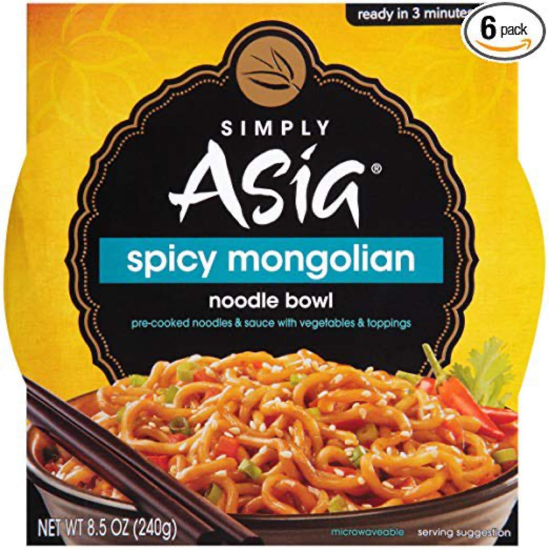 Pack of 6 - Simply Asia Spicy Mongolian Noodle Bowls    $12.48 with Free Prime Shipping   #steals #deals #stealsanddeals