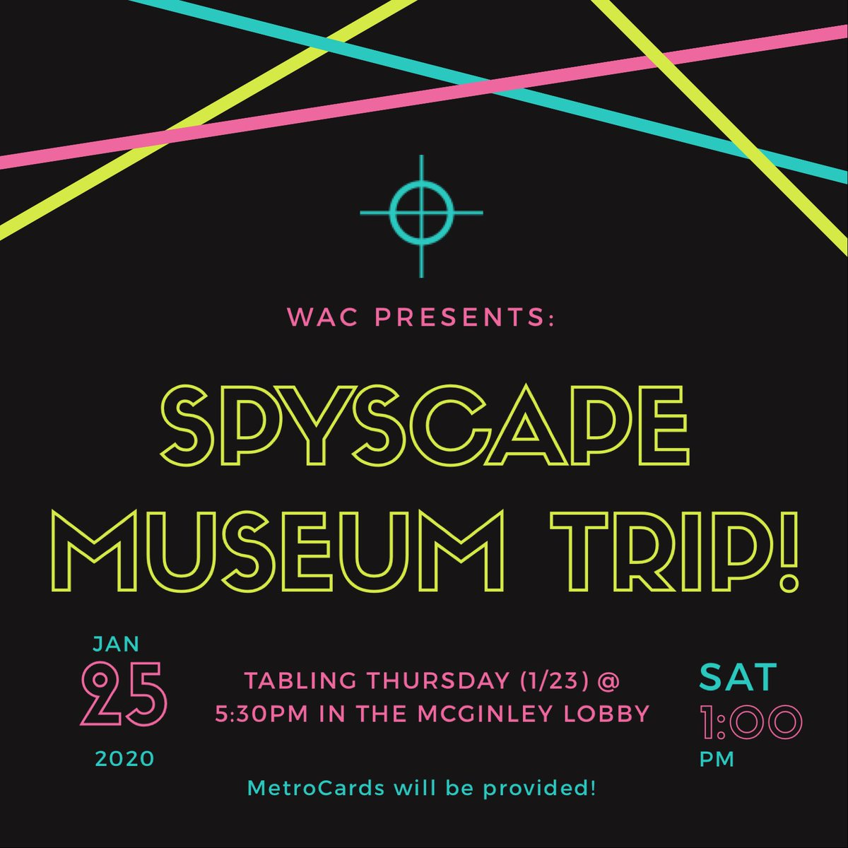 On Saturday (1/25), WAC will be taking 20 students to the SPYSCAPE Museum! If you're interested in coming, they will be tabling in the McGinley lobby on Thursday (1/23) @ 5:30pm. Come join us for an awesome trip — MetroCards will be provided!🧬🕶🕴🏼