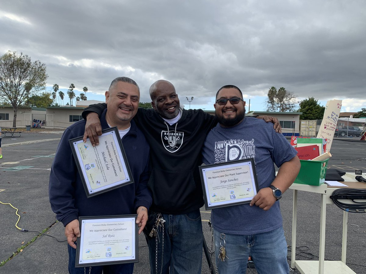 At Bixby ES we love these three humble guys!Today we had our first #BixbyWalkofFame to celebrate the #thefacesofBixby. Jorge,Sal and Michael work tirelessly and always with a smile on their faces to make our school what it is.We love our custodians!#proudtobeLBUSD #proudtobeBixby