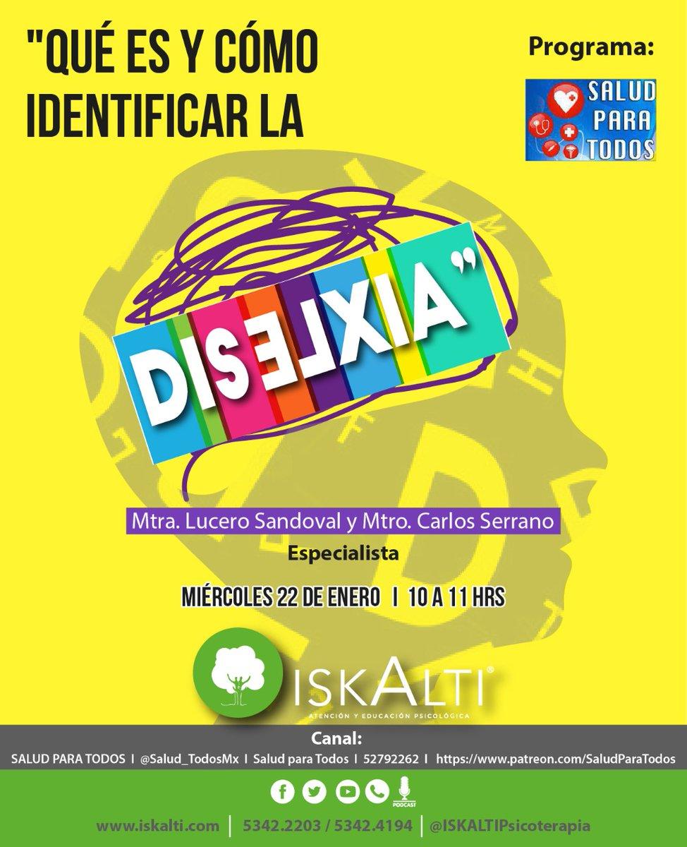 ¿Sabrías identificar #dislexia en tu #hijo? Síguenos mañana en @Salud_TodosMx a las 10am.  #TrastornosDelAprendizaje #discalculia #disgrafía #AtenciónNeuropsicológica #Neuropsicología #Neuropsicólogos #Psicología #CUENTAconNOSOTROS #CRECEconNOSOTROS #ISKALTIPsicoterapia